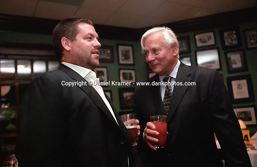 Film maker Ted Demme and sports reporter Dick Schaap enjoy cocktails at the Lombardi players reunion at the Lombardi Steakhouse in Appleton, Wisconsin in September of 2001. Demme was doing research for a feature-length film on Lombardi's Packers and died four months later. Schaap died three months later after complications from hip replacement surgery.