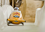 8 January 2016: Rico Peter, piloting his 2-man bobsled for Switzerland, enters the Chicane straightaway on his second run, ending the day with a combined 2-run time of 1:51.46 and earning a 9th place finish at the BMW IBSF World Cup Championships at the Olympic Sports Track in Lake Placid, New York, USA. Mandatory Credit: Ed Wolfstein Photo *** RAW (NEF) Image File Available ***