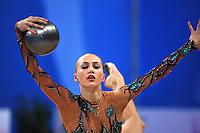 Ganna Rizatdinova of Ukraine performs with ball at 2010 Pesaro World Cup on August 28, 2010 at Pesaro, Italy.  Photo by Tom Theobald.