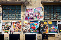 Indian movie posters, Bollywood, in the city of Varanasi, Benares, Northern India