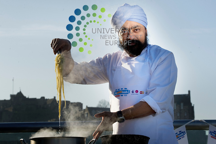 Big Lunchers joined celebrity chef, Tony Singh, on the rooftop terrace at Oloroso Bar and Restaurant in Edinburgh for a master class in preparing food ahead of this years Big Lunch event, which takes place on Sunday 3rd June, 2012, Edinburgh, Scotland, 28th March, 2012..Picture:Scott Taylor Universal News And Sport (Europe) .All pictures must be credited to www.universalnewsandsport.com. (Office)0844 884 51 22.