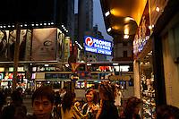 Aquarium of live reef fish and restaurant near corner of Man Ming Lane and Portland Street in Hong Kong.