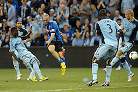 KANSAS CITY, KS - June 1, 2013:<br /> Marco Di Vaio (9) forward Montreal Impact has a shot on goal.<br /> Montreal Impact defeated Sporting Kansas City 2-1 at Sporting Park.