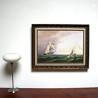 "Bradford: Whaler off the Vineyard, Digital Print, Image Dims. 20"" x 28"", Framed Dims. 27"" x 35"""