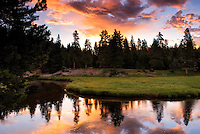 Sunrise over the Gibbon River in Yellowstone National Park.