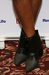 Patina Miller, shoe detail, attends the 2017 Drama League Award Nominees Announcements at Sardi's on April 19, 2017 in New York City.
