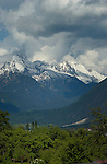 Clouds above snow covered peaks with forest foreground. Imst district, Tyrol/ Tirol, Austria. The alps.