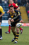 Nic Berry of London Wasps RFC lays off the pass to set up the opening try - London Wasps RFC vs Saracens RFC - Aviva Premiership Rugby at Adams Park, Wycombe Wanderers FC - 12/02/12 - MANDATORY CREDIT: Ray Lawrence/TGSPHOTO - Self billing applies where appropriate - 0845 094 6026 - contact@tgsphoto.co.uk - NO UNPAID USE.
