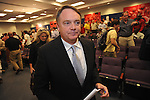 Mississippi football coach Houston Nutt leaves a news conference Monday Nov. 7, 2011 at the University of Mississippi in Oxford, Miss. Nutt will resign at the end of the season.
