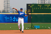 17 August 2007: Sebastien Herve practices during the Good Luck Beijing International baseball tournament (olympic test event) at the Wukesong Baseball Field in Beijing, China.