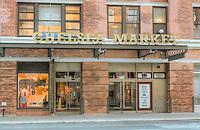 The exterior of Chelsea Market in the Chelsea neighborhood of Manhattan in New York City, New York
