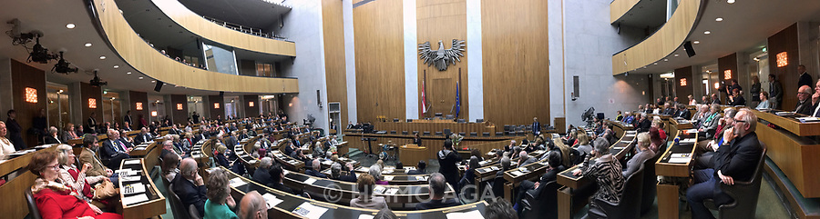 Vienna, Austria. Concordia-Preis (Concordia Award) 2016 given to exceptional journalists at the Austrian Parliament. Edith Meinhart, Human Rights Category Winner, holding speech.