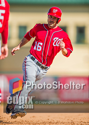 6 March 2016: Washington Nationals infielder Scott Sizemore in action during a Spring Training pre-season game against the St. Louis Cardinals at Roger Dean Stadium in Jupiter, Florida. The Nationals defeated the Cardinals 5-2 in Grapefruit League play. Mandatory Credit: Ed Wolfstein Photo *** RAW (NEF) Image File Available ***