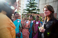 Melinda French Gates meets some attendees in the reception area after the talks at the India Islamic Cultural Centre during the TEDxChange @ TEDxDelhi in New Delhi, India on 22nd March 2011..