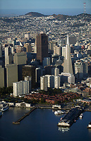 aerial photograph waterfront skyscrapers 555 California Street Embarcadero Center San Francisco