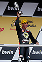 May 2, 2010 - Jerez, Spain  - Gresini Racing's Spanish Toni Elias celebrates on the podium after winning the Moto 2 race of the Spanish Grand Prix at the Jerez racetrack on May 2, 2010 in Jerez de la Frontera. (Photo Andrew Northcott/Nippon News)