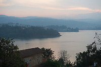 Africa, DRC, Democratic Republic of the Congo. Women for Women project. View of Lake Kivu from Hotel Elilia.