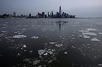 Ice is seen along the hudson river during low temperatures in New York. 16.02.2015. Eduardo Munoz Alvarez/VIEWpress.