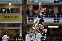 Matt Garvey of Bath Rugby wins the ball at a lineout. West Country Challenge Cup match, between Bath Rugby and Exeter Chiefs on October 10, 2015 at the Recreation Ground in Bath, England. Photo by: Patrick Khachfe / Onside Images