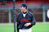 SAN FRANCISCO, CA - Will Clark of the San Francisco Giants jokes around during batting practice before a game at Candlestick Park in San Francisco, California in 1989. Photo by Brad Mangin