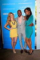 PASADENA - APR 18:  Jennifer Knuth, AJ Johnson, Katrell Mendenhall arrives at the NBCUniversal Summer Press Day at The Langham Huntington Hotel on April 18, 2012 in Pasadena, CA