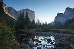 El Capitan in the morning sunlight, Yosemite Valley at sunrise, Yosemite National Park, California, USA