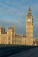 Big Ben and Houses of Parliament behind an empty Westminster Bridge, London, England