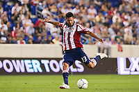 Ante Jazic (13) of CD Chivas USA. The New York Red Bulls and CD Chivas USA played to a 1-1 tie during a Major League Soccer (MLS) match at Red Bull Arena in Harrison, NJ, on May 23, 2012.