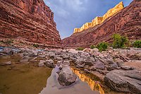 Reflection at North Canyon mouth, Grand Canyon National Park, Arizona, sunrise, Marble Canyon