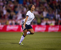 Sydney Leroux (2) of the USWNT celebrates her goal during an international friendly at Crew Stadium in Columbus, OH. The USWNT tied New Zealand, 1-1.