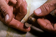 Cuba, March 1992: Finishing of the Cigar , gluing the cover for the tip with the same colored leaf as the cigar, In La Corona, The largest cigar factory in Havana.