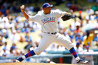 4 May 2011: Starting pitcher Carlos Zambrano on the mound while the Cubs defeated the Dodgers 5-1 during a Major League Baseball game at Dodger Stadium in Los Angeles, California.  Dodgers players are wearing Brooklyn Dodger 1940's throwback jersey uniforms and the Cubs are also wearing throwback retro jersey uniforms. **Editorial Use Only**