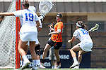 16 May 2015: Princeton's Anya Gersoff (45) is defended by Duke's Stuart Humphrey (13) and Claire Scarrone (19). The Duke University Blue Devils hosted the Princeton University Tigers at Koskinen Stadium in Durham, North Carolina in a 2015 NCAA Division I Women's Lacrosse Tournament quarterfinal match. Duke won the game 7-3.