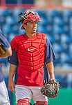 22 February 2013: Washington Nationals' catcher Kurt Suzuki warms up during a full squad Spring Training workout at Space Coast Stadium in Viera, Florida. Mandatory Credit: Ed Wolfstein Photo *** RAW File Available ***
