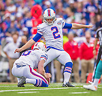 14 September 2014: Buffalo Bills kicker Dan Carpenter kicks a field goal in the first quarter against the Miami Dolphins at Ralph Wilson Stadium at Ralph Wilson Stadium in Orchard Park, NY. The Bills defeated the Dolphins 29-10 to win their home opener and start the season with a 2-0 record. Mandatory Credit: Ed Wolfstein Photo *** RAW (NEF) Image File Available ***