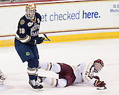 Stephen Johns (ND - 28), Patrick Brown (BC - 23) - The visiting University of Notre Dame Fighting Irish defeated the Boston College Eagles 7-2 on Friday, March 14, 2014, in the first game of their Hockey East quarterfinals matchup at Kelley Rink in Conte Forum in Chestnut Hill, Massachusetts.