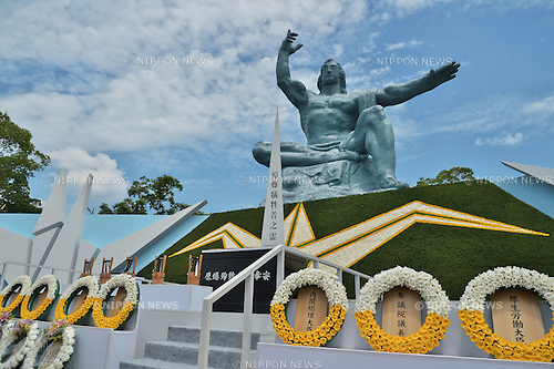August 9, 2016, Nagasaki, Japan : Wreath are seen in front of the Peace Statue after the ceremony of marking the 71th anniversary of the atomic bombing at Peace Park in Nagasaki, Japan, on August 9, 2016. (Photo by AFLO)