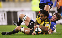 Ma'a Nonu scores for the Hurricanes during the Super 14 rugby match between the Hurricanes and Western Force at Westpac Stadium, Wellington, New Zealand on Saturday, 20 February 2010. Photo: Dave Lintott / lintottphoto.co.nz