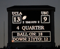 2 December 2006: Final scoreboard during the final minutes of the Pac-10 college football upset UCLA beat the Trojans 13-9 during the final home game of the season for the UCLA Bruins vs the University of Southern California USC  Trojans at the Rose Bowl in Pasadena, CA.<br />