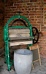 Antique washing mangle used for pressing water from washed clothes,Boroughbridge, North yorkshire.