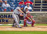 26 July 2013: New York Mets infielder Daniel Murphy in action against the Washington Nationals at Nationals Park in Washington, DC. The Mets shut out the Nationals 11-0 in the first game of their day/night doubleheader. Mandatory Credit: Ed Wolfstein Photo *** RAW (NEF) Image File Available ***