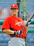 7 March 2012: St. Louis Cardinals first baseman Mark Hamilton warms up prior to a game against the Washington Nationals at Space Coast Stadium in Viera, Florida. The teams battled to a 3-3 tie in Grapefruit League Spring Training action. Mandatory Credit: Ed Wolfstein Photo