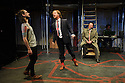 London, UK. 04.05.2016. The Busker's Opera, by Dougal Irvine, opens at the Park Theatre.  Directed by Lotte Wakeham, with set design by Anna Kezia Williams and lighting design by Christopher Nairne. Picture shows: George Maguire (Macheath), Simon Dylan-Kane (Mayor Lockitt), David Burt (Jeremiah Peachum). Photograph © Jane Hobson.