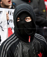 EDL member - 2011<br /> <br /> Luton (UK), 05/02/2011. EDL (English Defence League) organised a demonstration in Luton (Bedfordshire) against Islamism, Sharia law and Islamic extremism they claim is spreading in the United Kingdom. On the same day UAF (United Against Fascism) organised a counter-demonstration in Luton.  The two groups were controlled and contained by 1,800 police officers.