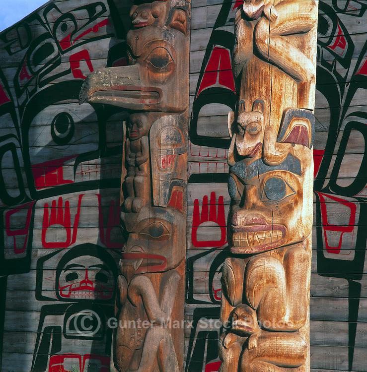 Ksan Historical Village and Museum in Hazelton, Northern BC, British Columbia, Canada - Replicated Gitxsan (Gitksan aka Tsimshian) First Nations Native Indian Village, Totem Poles and Tribal Plank House