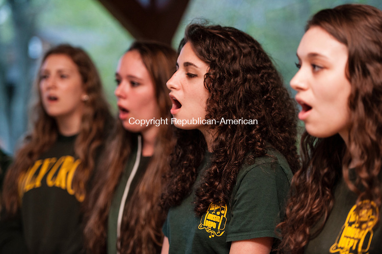 WATERTOWN, CT-15 May 2014-051514EC04-  Angela Hickey, 17, sings with the Holy Cross Girls Choir during a fundraiser for the 2014 Greater Waterbury Campership Fund campaign. The annual fundraiser took place at YMCA's Camp Mataucha in Watertown Thursday night. Erin Covey Republican-American