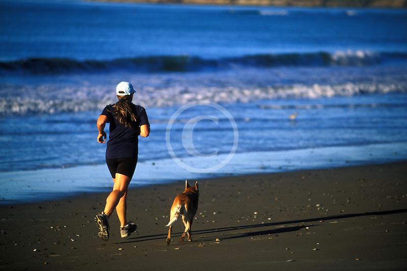 California, Stinson Beach, Running on the beach
