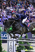 OMAHA, NEBRASKA - APR 1:  Max Kühner rides Cornet Kalua during the International Omaha Jumping Grand Prix at the CenturyLink Center on April 1, 2017 in Omaha, Nebraska. (Photo by Taylor Pence/Eclipse Sportswire/Getty Images)