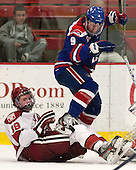 Jimmy Vesey (Harvard - 19), Terrence Wallin (UML - 9) - The visiting University of Massachusetts Lowell River Hawks defeated the Harvard University Crimson 5-0 on Monday, December 10, 2012, at Bright Hockey Center in Cambridge, Massachusetts.