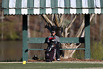 KANNAPOLIS, NC - APRIL 09: South Carolina's Ryan Stachler waits on the 9th hole for a preceding group to tee off. The third round of the Irish Creek Intercollegiate Men's Golf Tournament was held on April 9, 2017, at the The Club at Irish Creek in Kannapolis, NC.